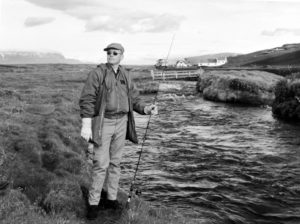 Neil Armstrong fishing in River Laxá, North Iceland